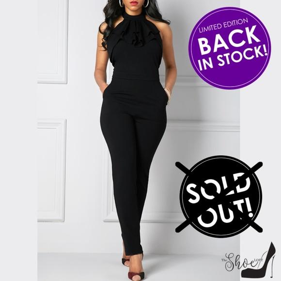 Pants - Black Halter Ruffle Front Neck Bow Jumpsuit